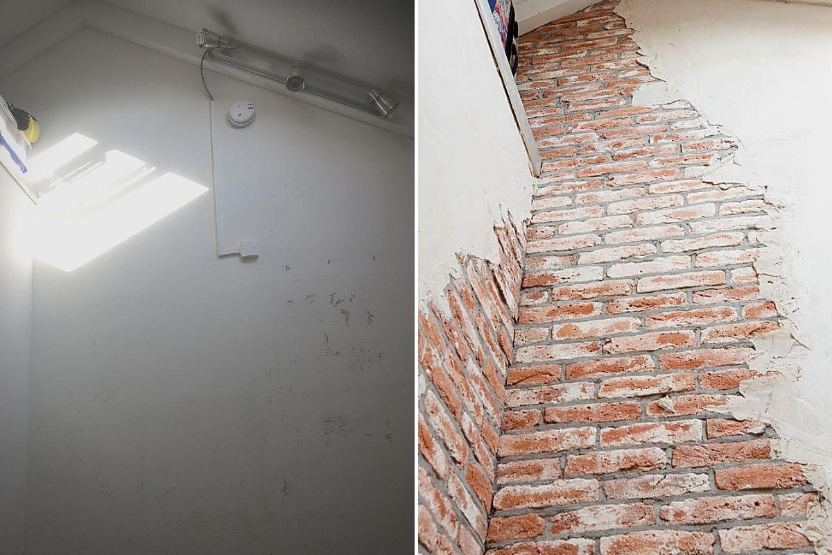 wallofsteen - verweerde muur - oude muur - muur met stuc -industriële muur