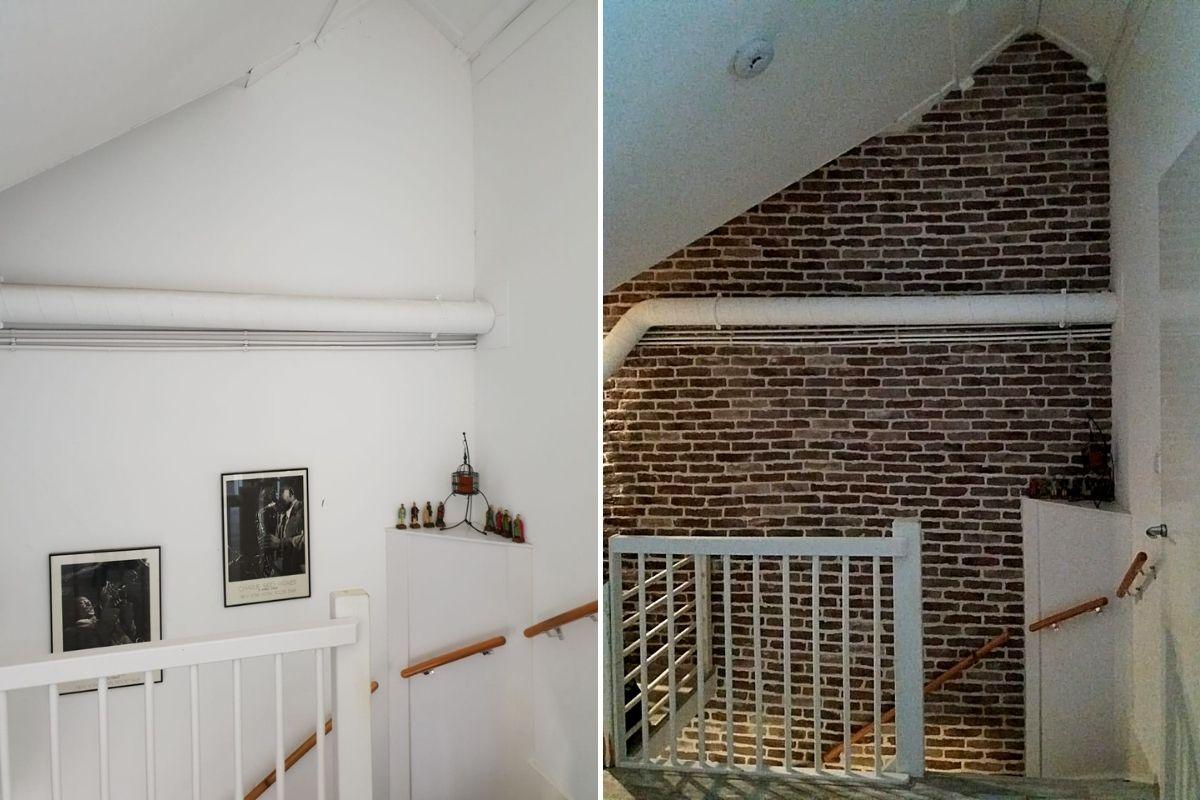 Industriële bakstenen muur-oude muur-dunne steenstrips-Wall of Steen