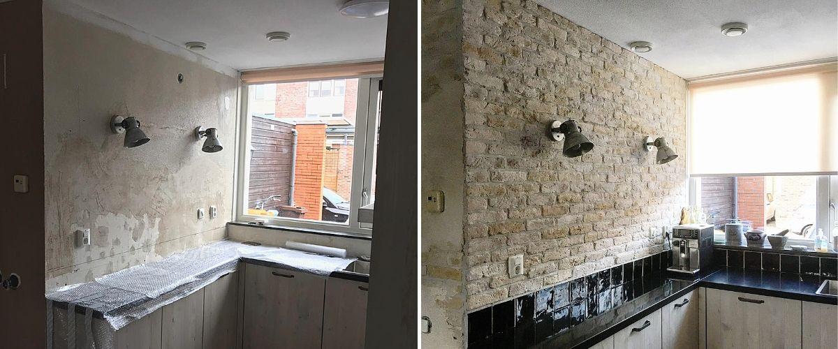 Wallofsteen-bakstenen muur-verweerde muur-industriële bakstenen muur-keukenmuur