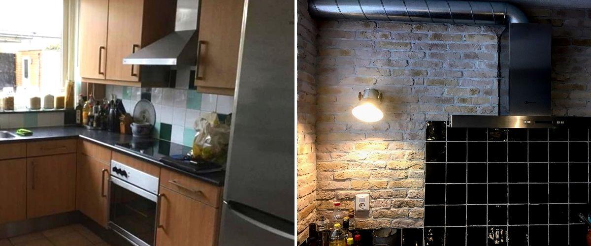 Wallofsteen-landelijke bakstenen muur- industriële muur-keukenmuur