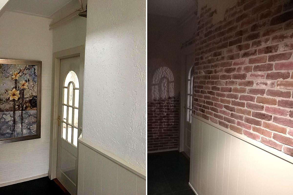 dunne steenstrips-landelijk interieur-bakstenen muur-Wallofsteen
