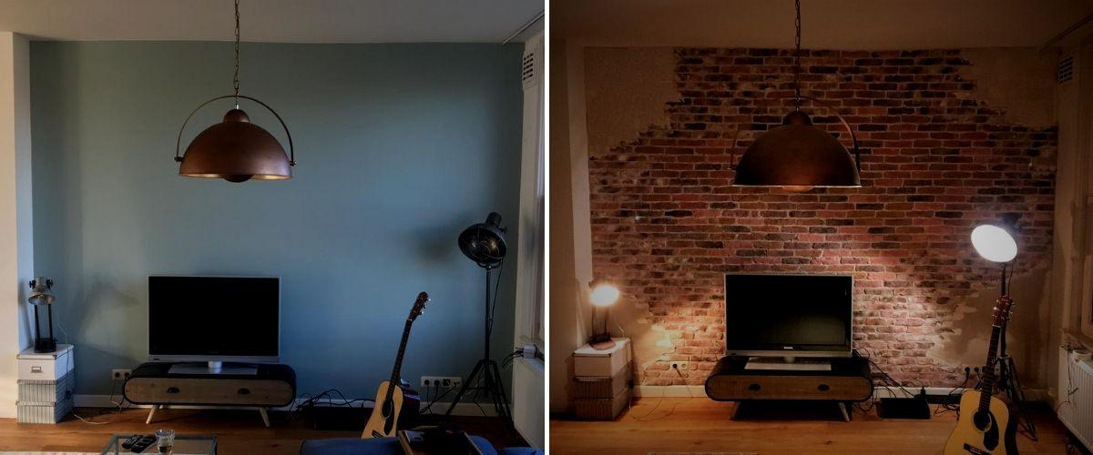muur met stuc-wallofsteen-industriële bakstenen muur-verweerde steenstrips