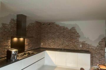 keukenwand dunne brickwall steenstrips met stucwerk door Wall of Steen voor jouw oude stenen muur en watervaste en vuilafwerende coating