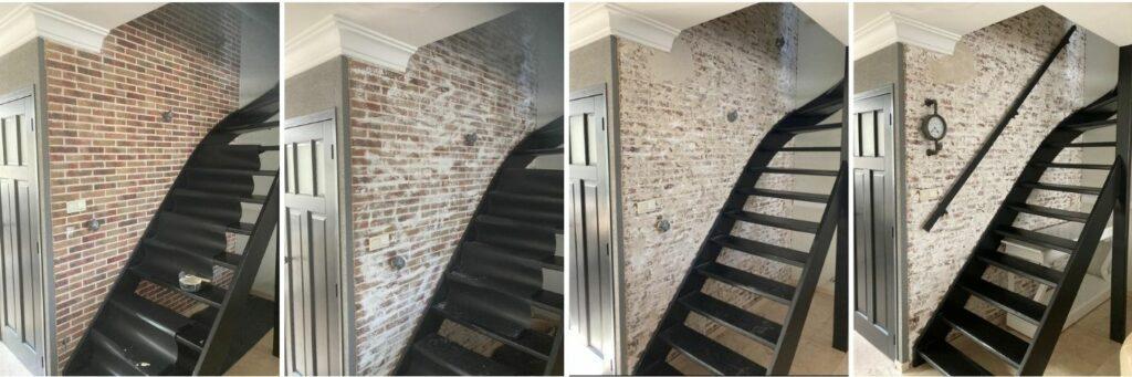 Muur met steenstrips van baksteen verouderen door Wall of Steen